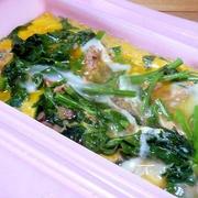 「春野菜」のらぼう菜とツナの卵とじ
