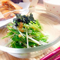 水菜となめ茸のサラダ