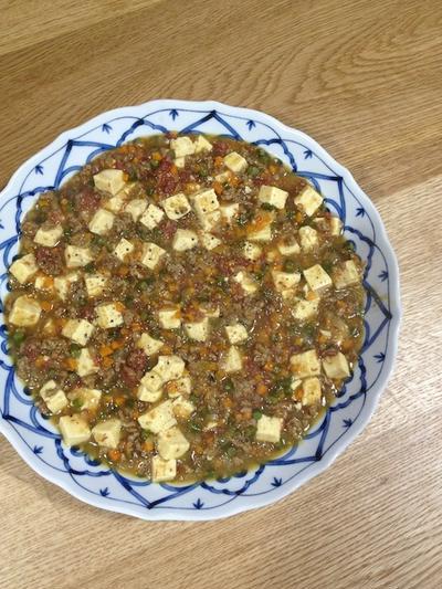 父の日に自分で作った料理 「カレー麻婆豆腐」