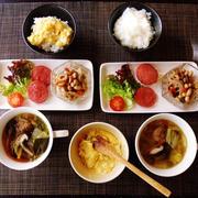 茶碗たまご丼☆肉団子と白菜のおかずスープ♪☆♪☆♪