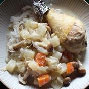 ホワイトクリスマスにチキンところころ野菜のスープごはん
