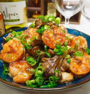 【レシピ】海老と舞茸のガーリックバタポン炒め