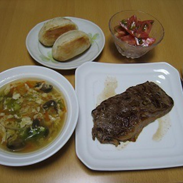 夕食 牛肉のステーキ