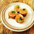 にんじんと小松菜の肉巻き/お弁当用シリコンカップ洗いにキュキュットCLEAR泡スプレー