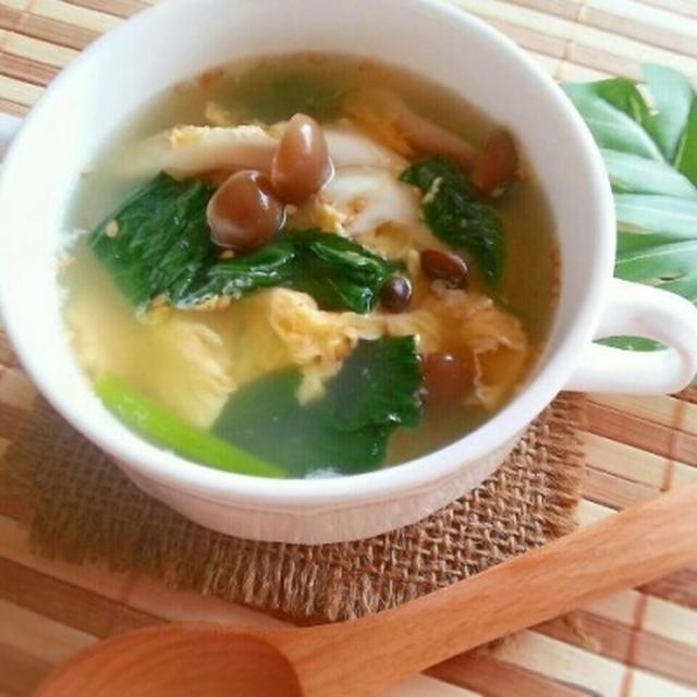 3行レシピ♪子どもも食べますw モロヘイヤとしめじの鶏ガラたまごスープ。