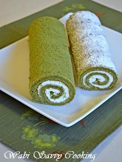 Matcha Roll Cake with White Chocolate Cheese Cream