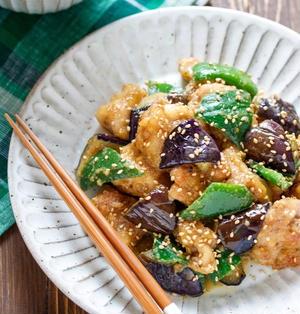 鶏肉となすとピーマンのにんにくごま味噌炒め【#作り置き #お弁当 #主菜 #和風】