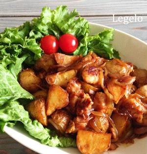 じゃがいもでボリュームUP♪鶏もも肉のウスターソース炒め☆簡単節約
