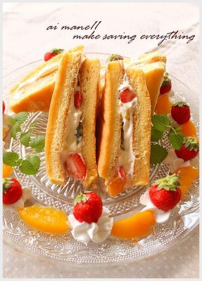 三角フルーツサンドケーキ