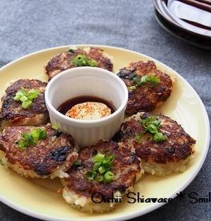 *七味醤油マヨで食べる☆桜海老と海苔の大根餅*