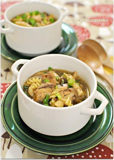 さばみそ煮缶で簡単ほっこり和風スープパスタ
