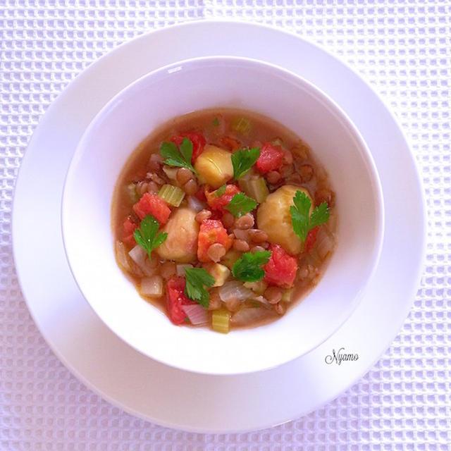 栗とレンズ豆のミネストラ