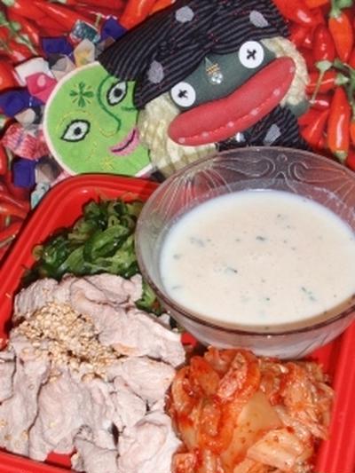 豚キムチの冷製ポタージュ風味&大根のおかかワサマヨサラダ(お家カフェ)