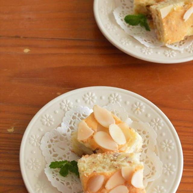 簡単!混ぜるだけ!梨とアーモンドのふわふわケーキ