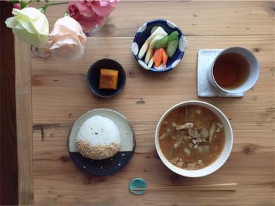 【おうちランチ】栗のつもりの顔結びでひとりランチとかぼちゃの塩煮のプチレシピ。