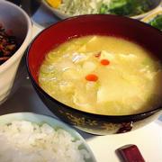 崩し豆腐のかき玉ゴマ味噌スープ