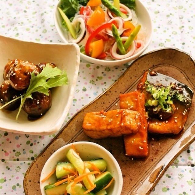 鯖と豆腐のコチュジャン煮 / イカと春雨のアジアン風サラダ