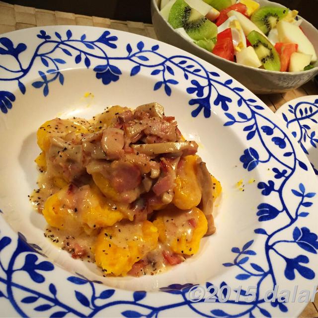 カボチャのニョッキと鮭のハニーマスタードソース for ハッピーハロウィン♪
