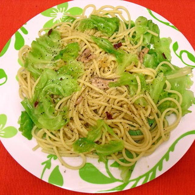 イタリアの味?塩辛とキャベツのスパゲティ