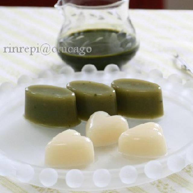 製氷皿でひとくち 抹茶と白あんの水羊羹 抹茶ソース