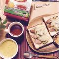 我が家の朝食♡忙しい朝に名糖のレモンティーは簡単で嬉しい♩#名糖 #レモンティー #ココア #ミルクティー