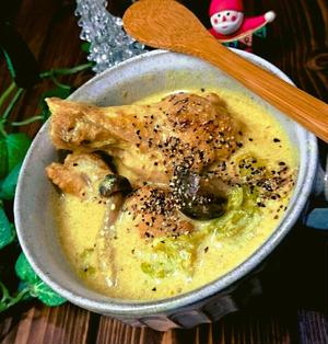 白菜と手羽元キノコのカレー豆乳スープ❤