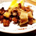 我家のおつまみ 塩麹漬け鶏皮炒め&軟骨唐揚
