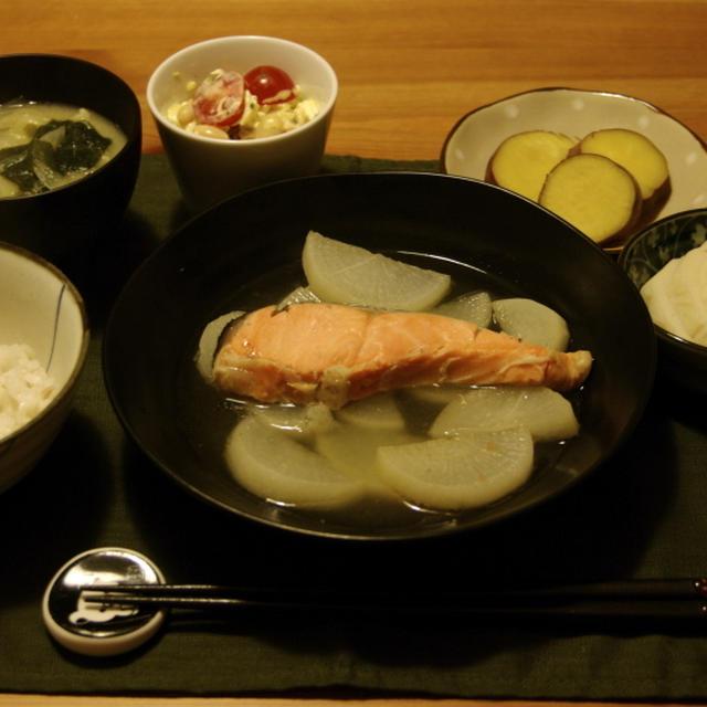 大根と鮭の煮物夜ご飯