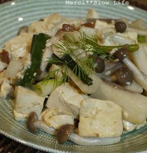 豆腐と長芋の梅炒め