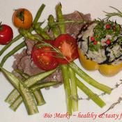 ピンクペッパーでひじきとパセリの洋風混ぜご飯&牛肉添え