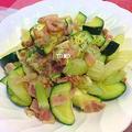 美味しく減塩♪GABANバジルとホワイトペパー de ズッキーニとセロリのベーコン炒め