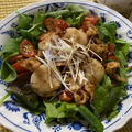 ほたての貝柱、ヒモの唐揚げを使った中華風サラダ