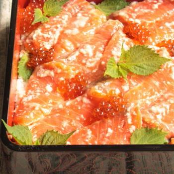 塩麹の力でサーモンがツヤぷるに!絶品塩麹漬けサーモンの作り方。人気の鮭といくらの親子鮨のレシピ