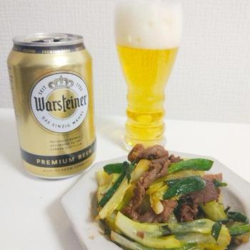 ニラとキャベツと牛肉の七味炒め(晩酌&お弁当メニュー)