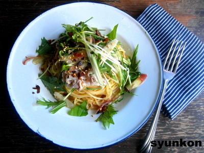豚しゃぶと野菜ののマヨしょうゆだれスパゲッティ