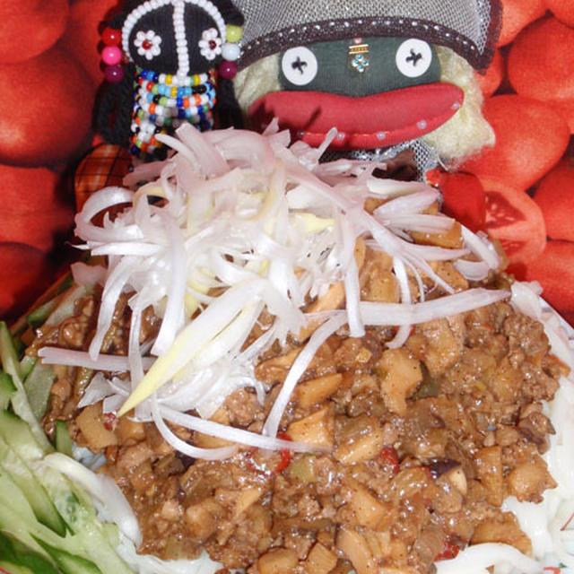 ジャージャー素麺&茄子のコチュチーズ焼き(お家カフェ)