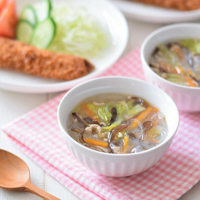 【岐阜クッキングアンバサダー】鶏ひき肉ときくらげの春雨スープ♡飛騨きくらげで作る中華風スープ♪