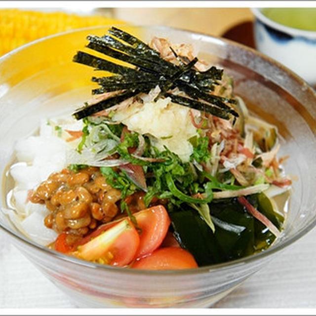 """きょうのお昼は""""納豆と長いもの冷かけうどん"""""""