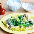 春キャベと豚しゃぶ肉の簡単白だしさっと煮