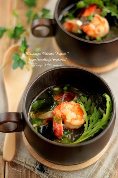 春雨とわかめの中華海老スープ♪~お家ご飯~
