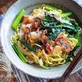♡あっさりコクうま♡豚肉と小松菜の塩焼きそば♡【#簡単レシピ#時短#節約#麺】