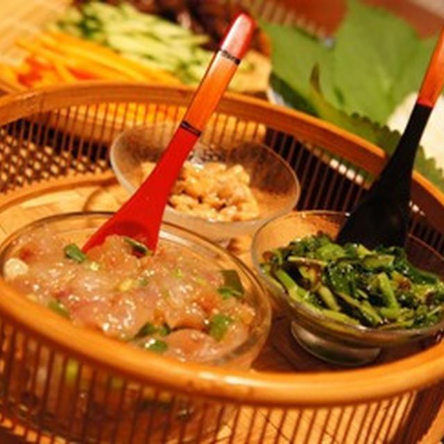 エゴマパワーで夏をのりきれ、白身魚韓国風なめろうのえごま葉包みご飯