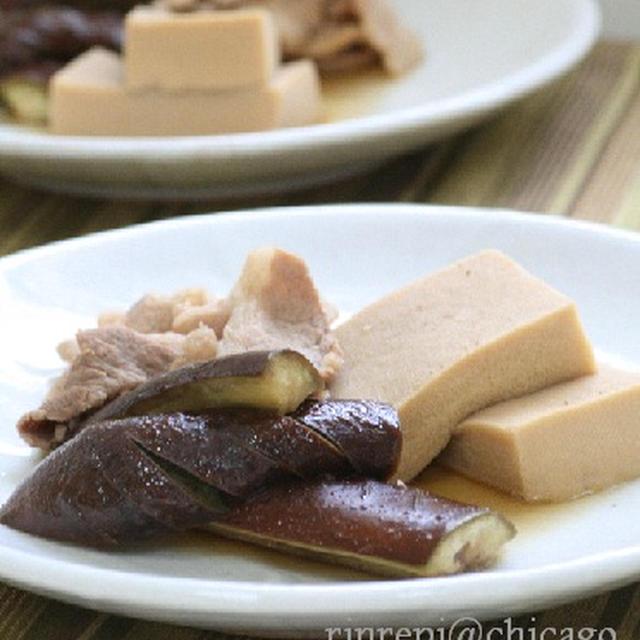 こうや豆腐となすの豚バラ含め煮
