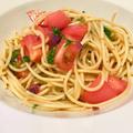 [つわりの時でも作って食べれた!]さっぱり柴漬けとトマトの大葉和風パスタ