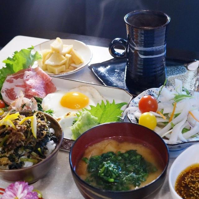自家製保存食「大根葉の佃煮」で【日本の朝ご飯セット】/超姉さんツクレポ有り難う♪