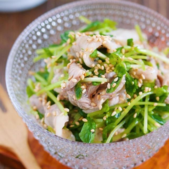 抱えて食べたいやみつき副菜♪『豚こまと豆苗のうまだれサラダ』【#作り置き #副菜 #和風】