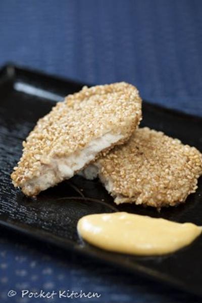 魚の胡麻焼き白味噌ソース