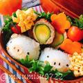 【キャラ弁】豚さんおにぎりと芽キャベツ肉巻き