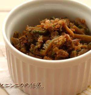 苦みが少なくて食べやすい。ゴーヤとにんにくとおかかの佃煮