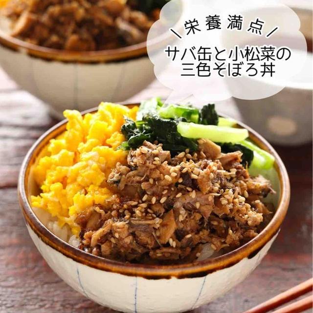 サバ缶と小松菜の三色そぼろ丼【#簡単 #時短 #節約 #栄養満点 #夏休み #ランチ #主食】